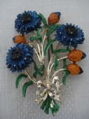 Flower pin -1960's Cold Enamel Cornflower Brooch signed Exquisite (sold)